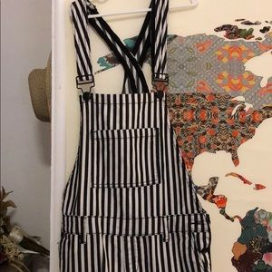 Black and white striped forever 21 overalls